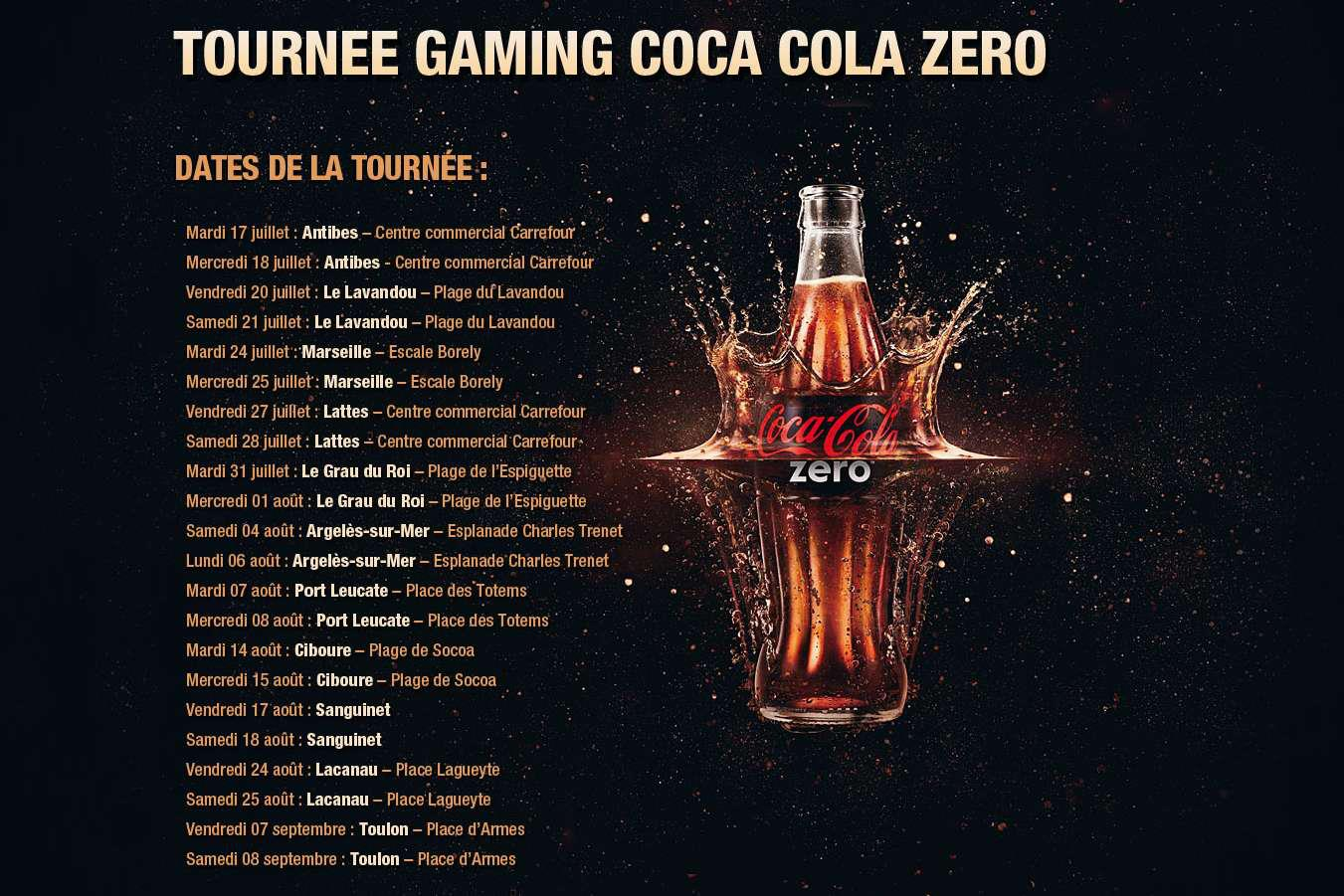 Coca-Cola Zéro Gaming Tour 2012 – Les dates