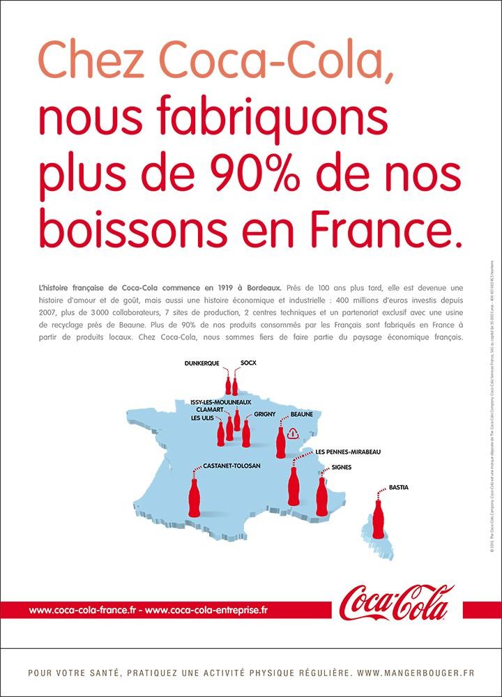 Coca-Cola produit plus de 90% de ses boissons en France