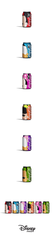 Concept : des canettes Coca-Cola aux couleurs de personnages Disney