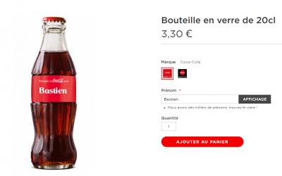Partagez un Coca-Cola : achetez vos bouteilles de Coca-Cola personnalisées